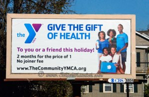 """The YMCA's """"Give The Gift Of Health"""" Billboard Campaign, photographed by 3 Chicks That Click"""
