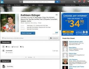 screenshot of LinkedIn profile with professional photo