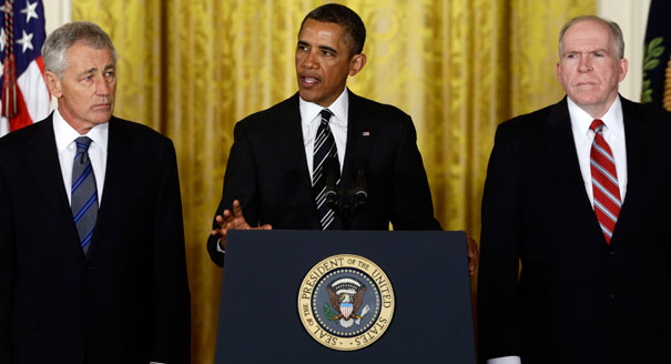 Hagel-Brennan-obama_annouce_nomination_hagel_605_ap