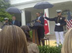 Marines summoned to hold umbrellas over Pres Obama & PM Erdogan