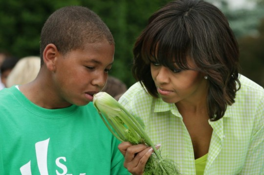 First lady Michelle Obama offers a sniff of fennel to a student from Sarah Moore Greene Magnet Technology Academy in Knox County, Tennessee, while harvesting and cooking vegetables from the White House Kitchen Garden. The first lady was joined by students from Somerville, Massachusettes, Knox County, Tennessee, Milton, Vermont, Washington, DC and Union Beach and Ship Bottom, New Jersey.