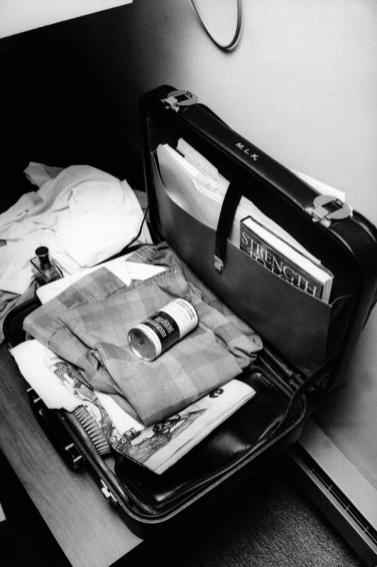Dr. King - Rev. Martin Luther King, Jr.'s still-open briefcase, photographed just after his death 1968