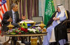 Riyadh-President Barack Obama meets with Saudi King Abdullah at Rawdat Khuraim, Saudi Arabia, Friday, March 28, 2014.