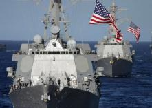 Ships and planes looking for MH370- USS Pinckney -left-. The United States has sent two Navy ships and an airplane equipped with long-range radar to help in the search for Malaysia Airlines flight MH370