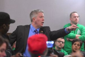 Jeff Roorda yelling in public meeting before the assault on black woman