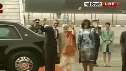 PM Narendra Modi welcomes President Obama & First Lady Michelle