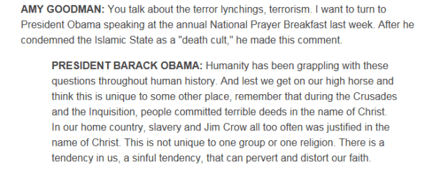 Deeds committed in the name of Christ- President Obama