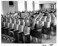 """Louis Cousins, one of the """"Norfolk 17,"""" waits to be assigned to a home room at Maury High School in the auditorium on Feb. 1, 1959. (The Virginian-Pilot file photo)"""