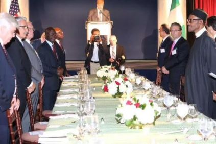 Buhari at a dinner hosted by the US Chambers of Commerce & the Corporate Council on Africa.