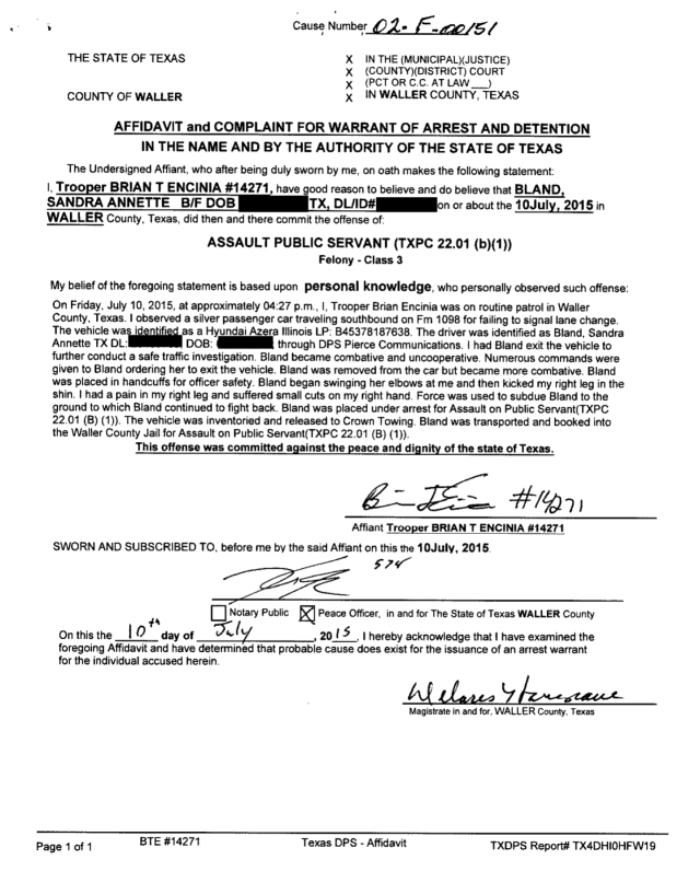Sandra Bland Police Report Released