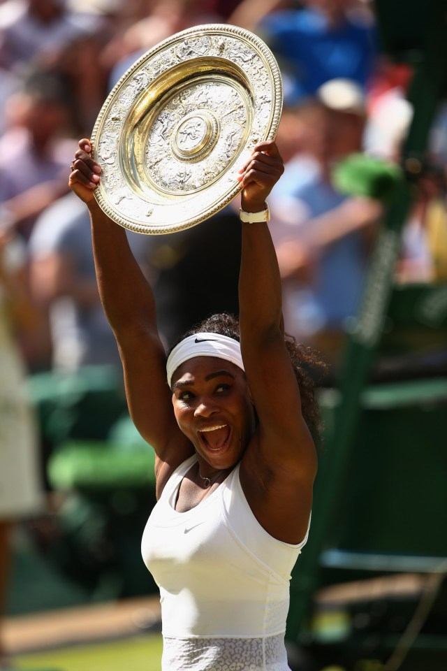LONDON, ENGLAND - JULY 11:  Serena Williams of the United States celebrates with the Venus Rosewater Dish after her victory in the Final Of The Ladies' Singles against Garbine Muguruza of Spain during day twelve of the Wimbledon Lawn Tennis Championships at the All England Lawn Tennis and Croquet Club on July 11, 2015 in London, England.  (Photo by Clive Brunskill/Getty Images)