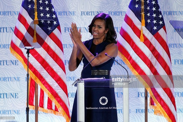 speaks onstage during Fortune's Most Powerful Women Summit - Day 2 at The Robert and Arlene Kogod Courtyard on October 13, 2015 in Washington, DC.