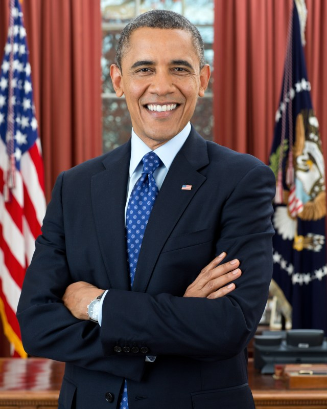 President Barack Obama is photographed during a presidential portrait sitting for an official photo in the Oval Office, Dec. 6, 2012.  (Official White House Photo by Pete Souza)