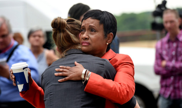 Glenda Hatchett, an attorney for the Castile family, reacts to a not-guilty verdict in the trial of St. Anthony police officer Jeronimo Yanez outside the Ramsey County Courthouse in St. Paul on June 16, 2017. A jury found Yanez was reasonable in his decision to fatally shoot Philando Castile during a traffic stop in Falcon Heights in July 2016. (Jean Pieri / Pioneer Press)