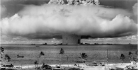 In the 1940s and '50s, over 216 nuclear tests were performed around the Bikini Atoll area. The one pictured here caused massive damage to the atoll and released contamination into the ocean.