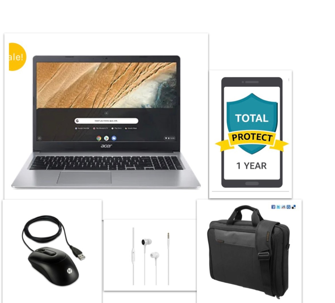 New Acer 15.6 Chromebook Bundle – Chromebook+Bag+Ear Phone+Mouse+12 Month Damage Protection