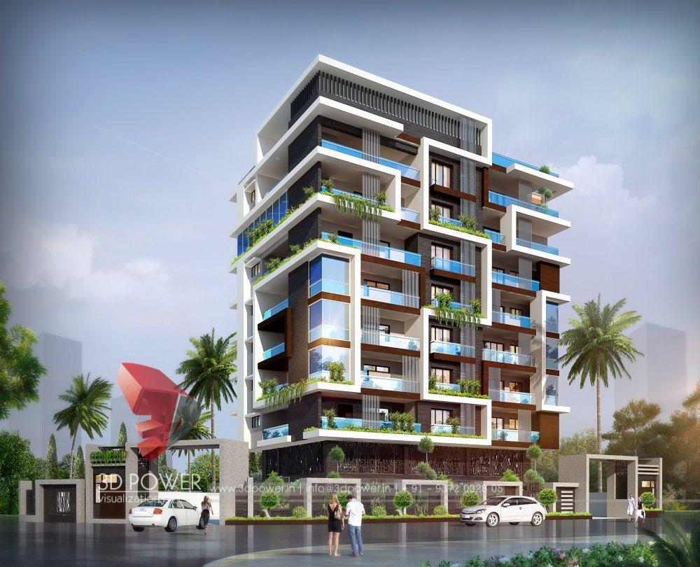Apartment Exterior Design  Dubai 3D Rendering 3D