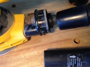 Sander dust nozzle (left), shop vac hose (top right), and included shop vac tool adapter (bottom right)