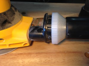 Sander-to-shop vac accessory: designed, printed, and tested in under two hours.