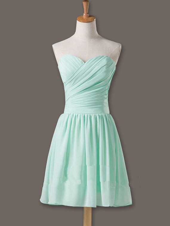 Pretty And Cute Mint Short Simple Prom Dresses 2015