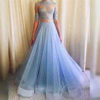 Pretty Light Blue Lace Top And Tulle Skirt Party Dresses ...