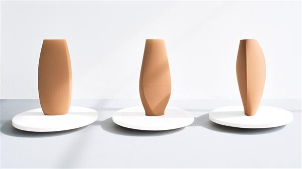 A Limited Edition Of 3d Printed Clay Vases Of Fashion Label Cos And