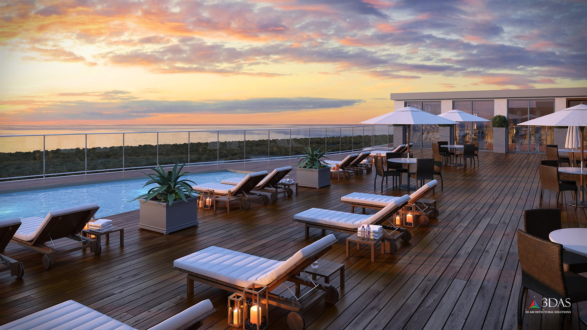 Kalea Bay Rooftop Sunset 3D Rendering in Naples, Florida