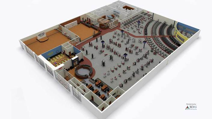 3D Floor Plan for Gym in Sarasota, Florida