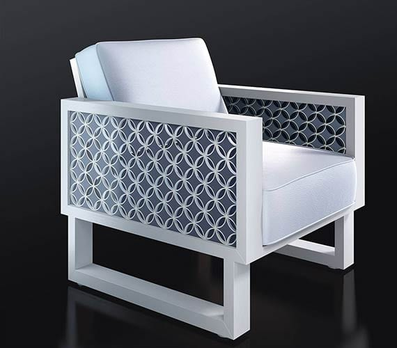 Leather White Chair with White Frame & Blue Circle Acrylic Pattern