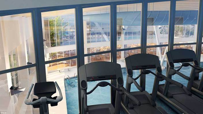 Gym Overlooking Pool at Sun N Fun RV Resort in Sarasota, Florida