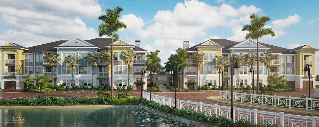 3d Architectural Exterior Luxury Lake Condo Renderings