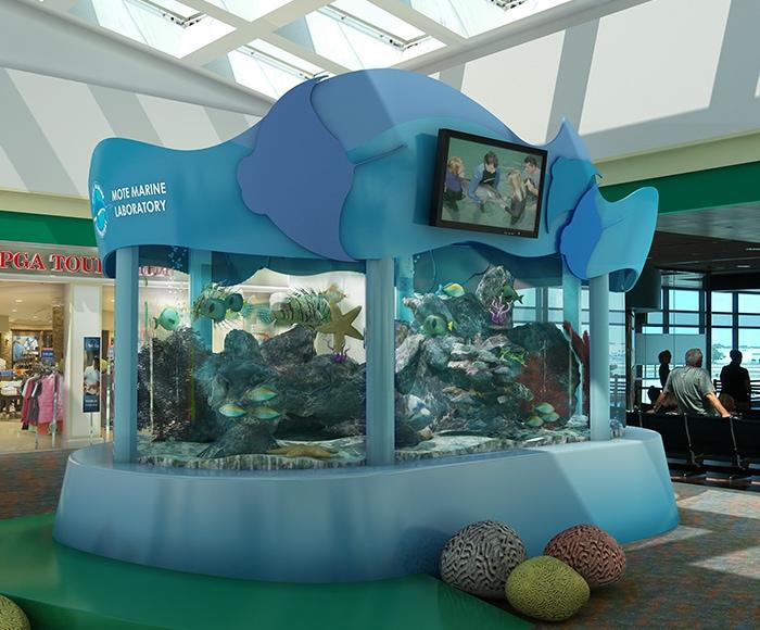 MOTE Marina Display - SRQ Airport in Sarasota - 3D Rendering