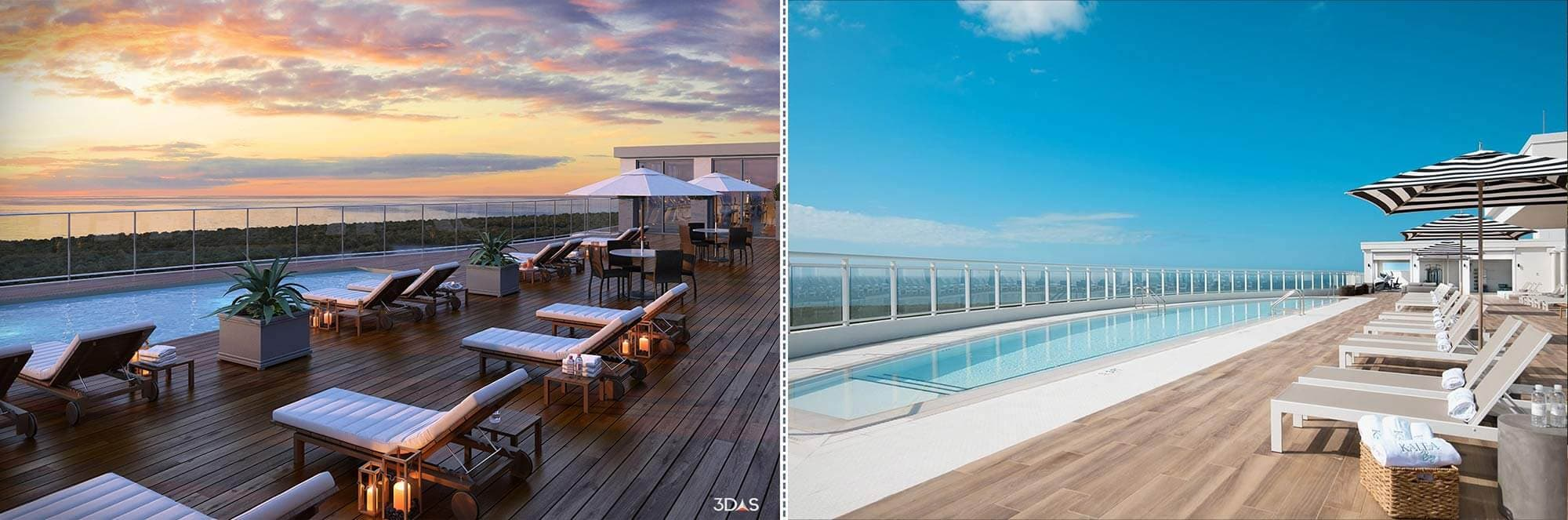 Kalea Bay Rooftop View from Tower 3D Rendering (Left) and Photo (Right)