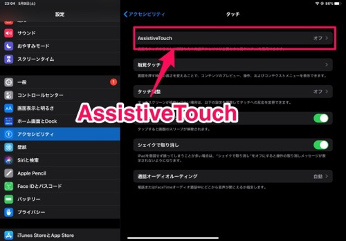 AssistiveTouchを選択