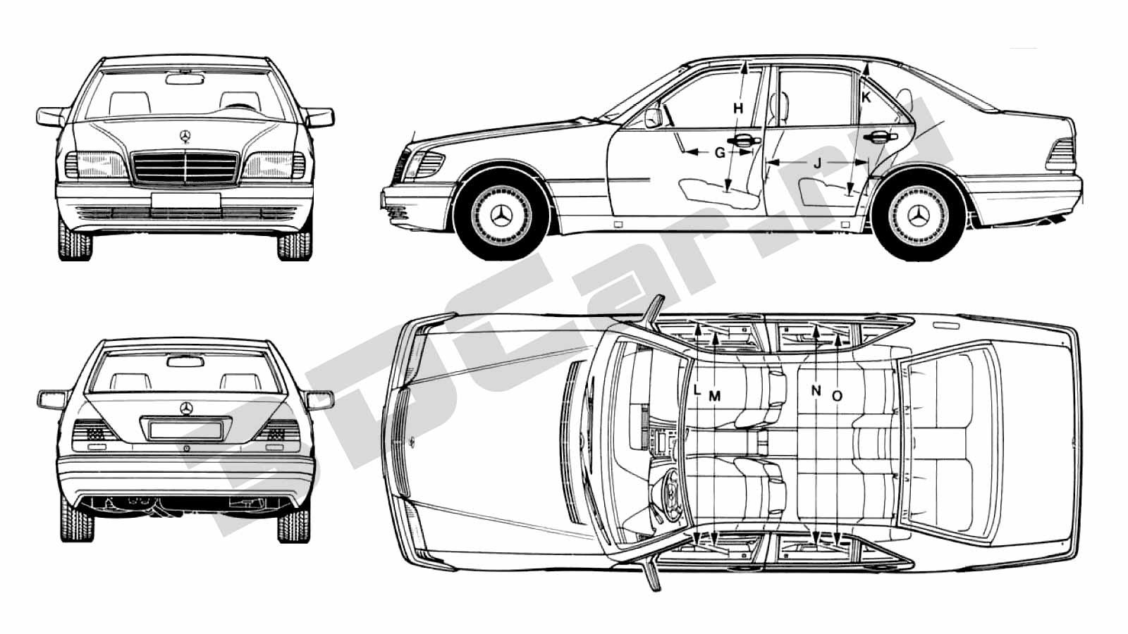 Чертеж Mercedes S-Class W140 S600 (1999) :: [ 3DCar.ru