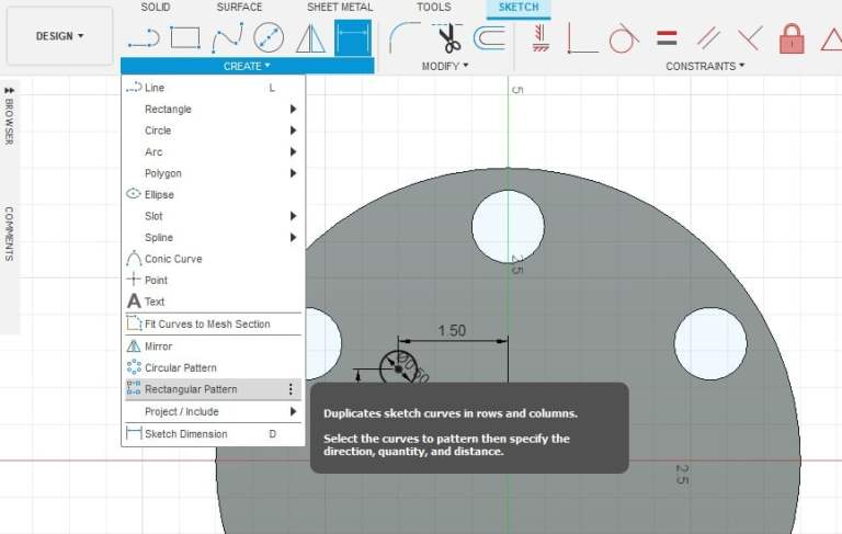 Fusion 360 Tutorial-Circular Pattern-Rectangular Pattern 13