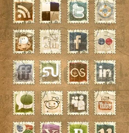 Pack de 23 iconos sociales de sellos de correos, gratis