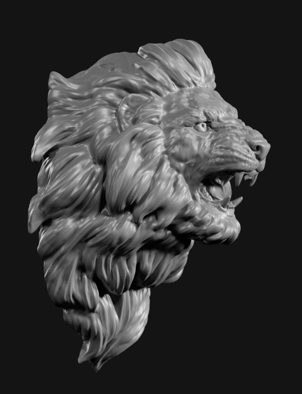 Lion Face Sculpture