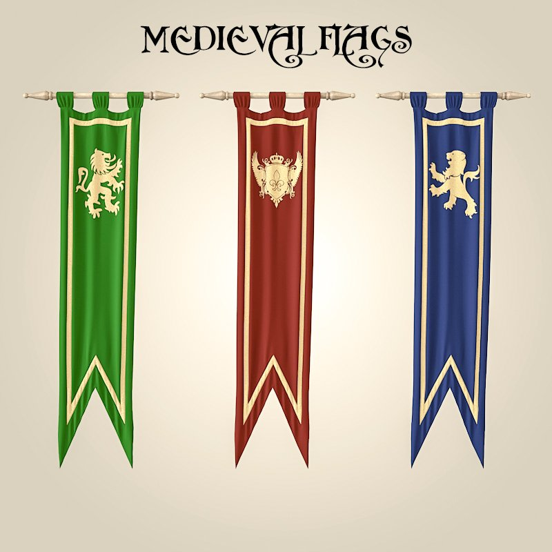 medieval flags 3d model