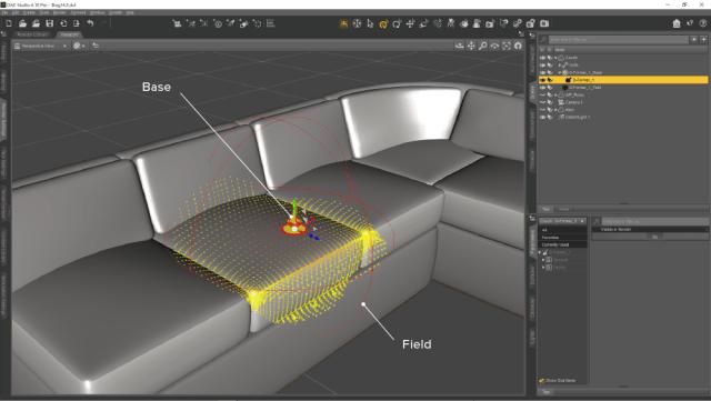 シーンに D-Form の Field と Base が追加されます