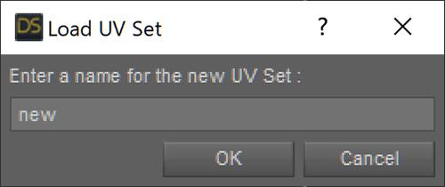 Load UV Set ウインドウで名前をつける