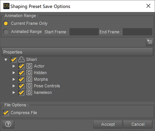 Shaping Preset Save Option