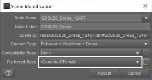 Preferred Base を Genesis 3 Female から Genesis 8 Female に変更