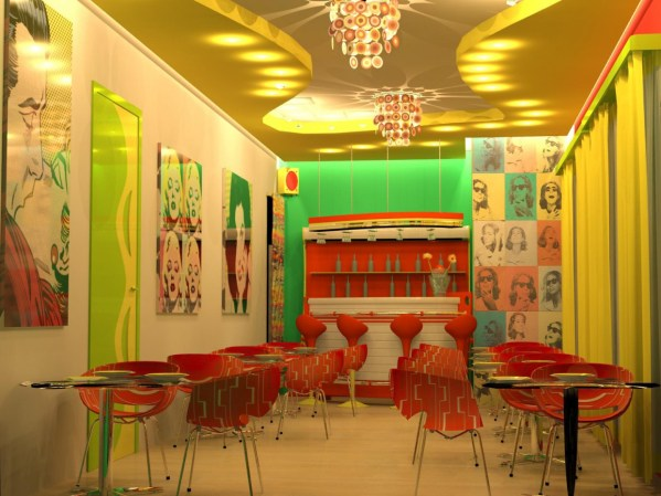 Cafe In Style Of Pop Art Interior 3d Visualization And Design Work Graphics