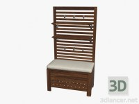 3d model Wall Panel with shelves + storage bench with ...
