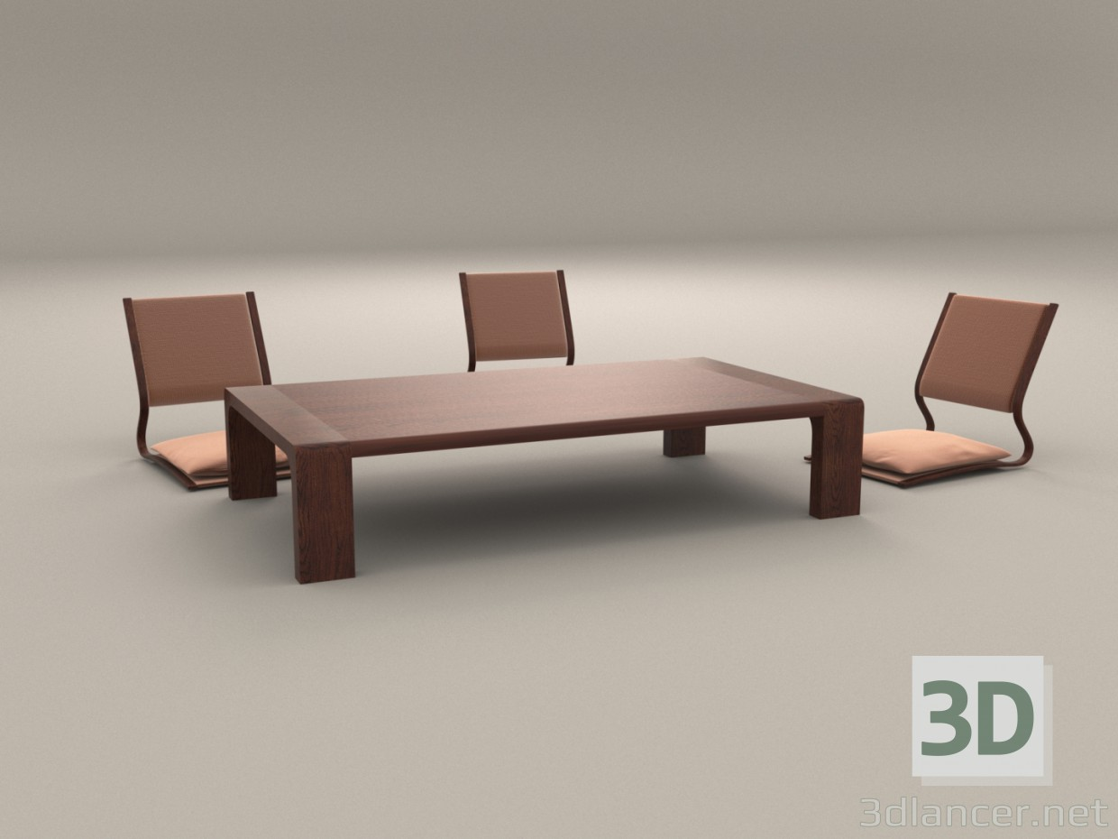 japanese table and chairs fishing bed chair elastic 3d model low download to