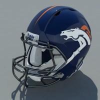 Football Helmet 3D Model Denver Broncos - Realtime