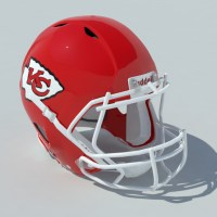 Football Helmet 3D Model Chiefs - Realtime