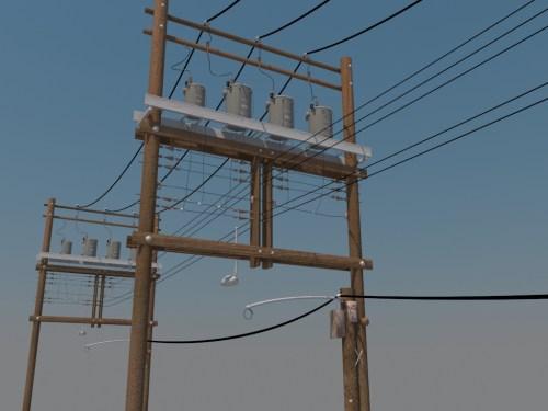 small resolution of wooden power line distribution line voltage regulators 3d