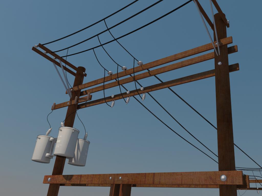 hight resolution of power line distribution line voltage regulators 3d model